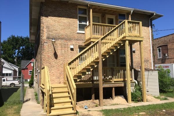 Multi-unit stairway rebuilt to code